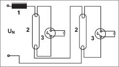 стартеры, схема последовательного соединения люминесцентных ламп