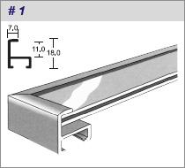 алюминиевый багетный профиль, сечение № 1
