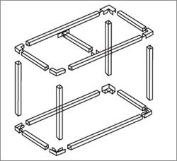 тюбинг, схема алюминиевой системы для изготовления каркасов рекламоносителей